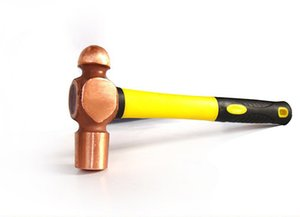 2062 Non-sparking Red Copper Ball Pein Hammer with fiberglass handle