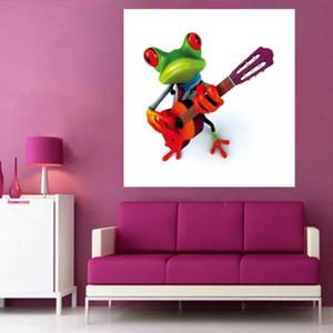 Pure Handmade Аннотация Wall Art Modern A Frog играть на гитаре Абстрактный Декор Прекрасный Животных Картина Маслом На Холсте Для Домашнего Декора, RK53 #