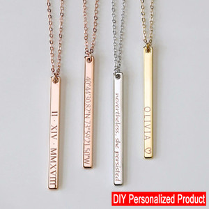 Colar personalizado de Ouro Personalizado Nome Gravado Data Bar Colar Pingente Colar Collier Femme Moda Jóias Shellhard
