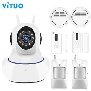 YITUO Системы Охранной Сигнализации Дома Охрана 433 МГц IP Wi-Fi Камера Видеонаблюдения Беспроводной Дверной Датчик Дыма Движения Детектор