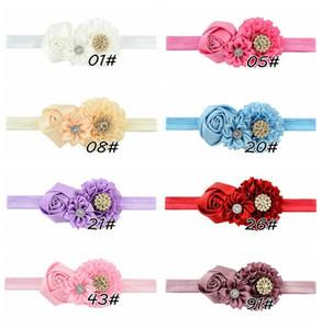 Rose Flower Headband 8pcs / Lot Baby Girl Crystal Rhinestone Newborn Princess Elastic Hairband Accesorios para niños 586