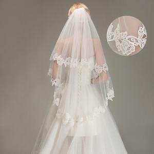 2019 Nouvelle mariée mariage avec Veils Longueur Peigne nuptiale dentelle vintage de mariage Veils coude Deux couches de mariée Accessoires CPA1440