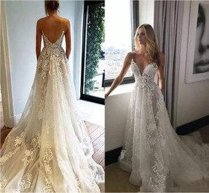Pallas Couture New Elegant Wedding Dresses Sweep Train Spaghetti Backless Beach Country Garden Bridal Gowns Custom Made A-Line Wedding Dress