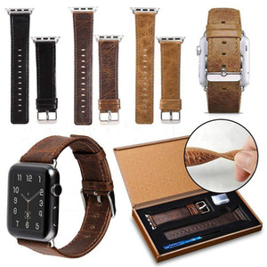 iwatch 시리즈 5 4 3 2 1 벨트 팔찌를 들어 크레이지 호스 패턴 정품 가죽 손목 시계를 들어 애플 시계 42mm의 38mm Smartwatch를 스트랩