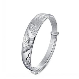 En 925 gümüş bilezik takı charm bilezikler bileklik etnik vintage şanslı nimet phoenix kuş oyma charms