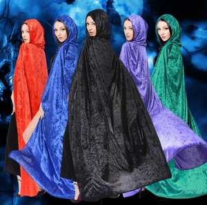 Women Gothic Hooded Velvet Cloak Halloween Party Witchcraft Cape Medieval Wicca Robe lady gril Cosplay dress costumes cape