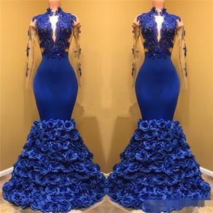 Royal Blue Black Girls Sirena Vestidos de noche Mangas largas Encaje Applique Ojo de la cerradura del cuello Vestidos de baile 3D Flores de rosa Vestidos de desfile