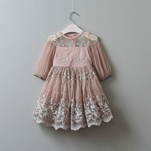 VORO BEVE Summer Baby Girl Dress In The Sleeve Of The Hem Lace Silk Thread Embroidery Leaves Pattern Dress Fashion Kids Clothes