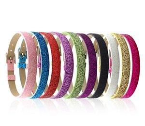 10pcs accessori fai da te fit charms per diapositive 8mm Shine PU cinturino in pelle bling di colore 8mm largo 210mm lunghezza
