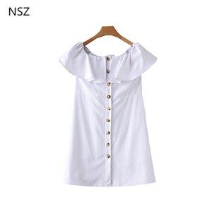 NSZ женщины белый с плеча оборками летнее платье Sexy с коротким рукавом хлопок мини-платья