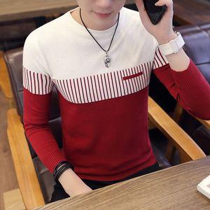 2018 Новая осень Повседневный кашемировый свитер Мужчины Мужчины вокруг шеи вязаные свитера с длинным рукавом Slim Fit Мода Пуловер Мужчины MY841