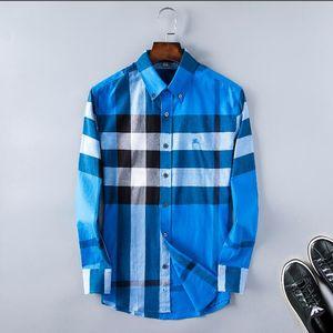 2020 American business brand self-cultivation plaid shirt, fashion designer brand long-sleeved cotton casual shirt striped co-dress shirt 97