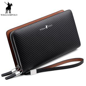 WilliamPOLO 2018 Art und Weise der neuen Ankunfts-100% Kuh-Leder-Geschäfts Solide Zipper Lange Mens Kupplungs-Mappen-Mann-Handtasche Wallet PL170
