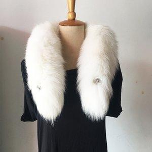 Real fur cachecol colar morno Moda Inverno Fur neve Fox ártico Fox cauda 100% real Fox Fur Scarf Collar Homens Mulheres Long 90 centímetros