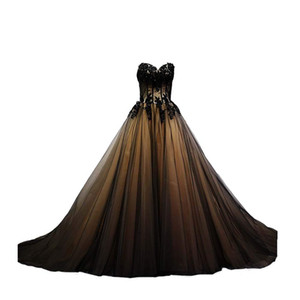 2018 New Sexy Gorgeous Sweetheart Black Tulle Gold Lace Corset Ball Gown Quinceanera Dresses Sweet 16 Prom Party Prom Gown
