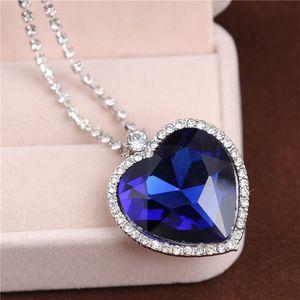 Love Forever Classic Titanic Blue Heart Pendant Necklace Wedding / Bride Jewelry Jewelry Festa della mamma / Regalo di San Valentino