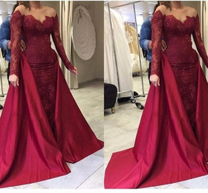Free Shipping 2018 New Arrival Luxury Satin Sequins Wedding Dress Mermaid Bridal Gowns Long Sleeve Detachable Train Wedding Gowns