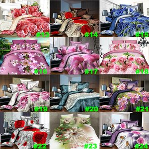 Flower Bedding Sets 4pcs set Luxury Rose Pattern Duvet Cover Pillowcases Home Bedding Supplies Christmas Decorative 27 Style HH7-1809