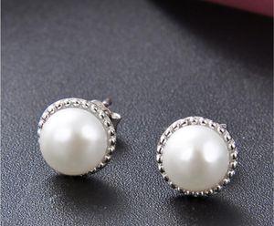 925 de plata del color de la perla aretes de joyería de moda circonio cúbico declaración pendientes joyería de la boda para las mujeres regalo de la venta caliente