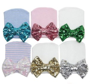 Cute Newborn hat Sequins big bow Beanie Maternity Baby white hats Christmas gifts 6colors Spring Autumn Summer Hotsale 0-3months