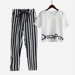 Femmes Ensemble D'été Blanc Lettre Imprimé T-shirt Sexy Hauts Rognés + Pantalon Rayé Longueur De Mollet Décontracté S65347R