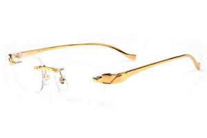 New Fashion Sports Rimless Sunglasses For Mens Womens Leopard Gold Metal Legs Man Woman Fashion Buffalo Horn Glasses Sunglasses gafas de sol