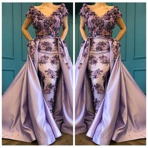 2018 lavanda Apliques 3D de hombro manga corta vestido de noche de satén Glamorous Saudi Sheath Prom vestidos de fiesta personalizados
