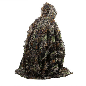 Outdoor 3D Foglie Camouflage Ghillie Poncho Camo Mantello del capo Stealth Ghillie Suit CS Woodland Hunting Poncho Cloak