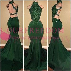 Newst Deisgn темно-зеленый длинные Русалка Пром платья Холтер шеи спинки развертки поезд аппликации 2K18 вечерние платья пользовательские