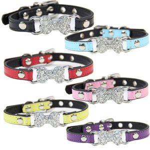 Collari per cani regolabili Bone Rhinestone Glittering Leashes Nero Rosso Cucciolo Collare per animali Forniture Accessori Harness Mascotas 6 6x bb