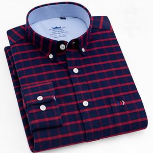 SB209-SB231eve Karierte, gestreifte Oberhemden Einzelne Brusttasche Regular Fit Knopfkragen Baumwolle Oxford Social Shirt Männlich