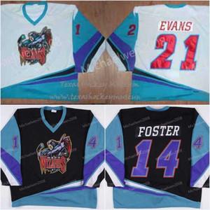 Uomo 1999-00 14 Jeff Foster Waco Wizards Jersey 21 Evans Maglie hockey economiche di alta qualità