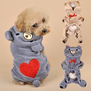 Cálido perro mascota ropa para perros pequeños ropa de algodón abrigo sudaderas con capucha mascotas perros ropa pijamas amor traje