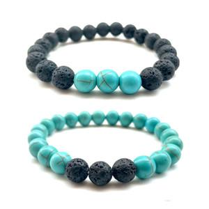용암 바위 비즈 인피니티 팔찌 8 Mm 천연석 참 보석류 풍화 돌 팔목 Bangles 2 Styles Turquoise Bracelet Charms