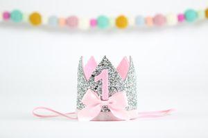 1. Geburtstagskrone 1. Kuchen Glitter Bow Crown Girl 1. Geburtstagsparty Prinzessin One Year Old Glitter Hat Silber