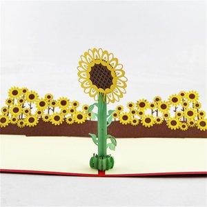Свадьба День Рождения пригласительные открытки 3D подсолнечника приглашения пользу Новый год Солнечный цветок открытки горячие продажа 6 5qy чч