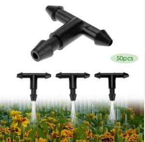 50pcs 3 / 5mm 정원 호스 스프링 클 러 T 모양 3 구멍 마이크로 드립 관개 파이프 가시 된 커넥터 관수 시스템 연결 부분