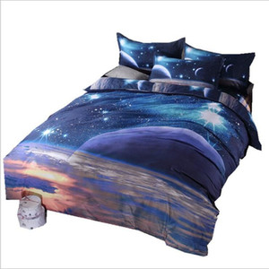 3D Print Galaxy Duvet Cover Set Single double Twin King 4pcs bedding sets Universe Outer Space Themed Bed Linen Bed Sheet CNY624