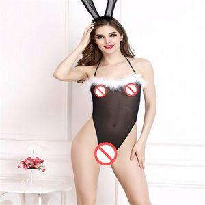 Женское сексуальное женское белье кролик ночной клуб ds Кролик кролик кролик равномерное искушение черный цельный шорты висит шея три точки