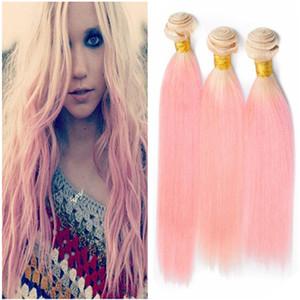 # 613 / Pink Ombre Brésilienne Vierge Extensions de Tissage de Cheveux Humains 3Pcs Silky Straight Blonde et Ombre Rose Bundles de Cheveux Offres