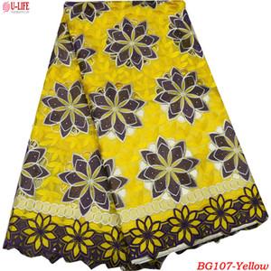 Telas de encaje cortadas a mano africanas Alta calidad 100% tela de encaje de algodón Embrodery Swiss Voile Lace en Suiza para el vestido BG-107