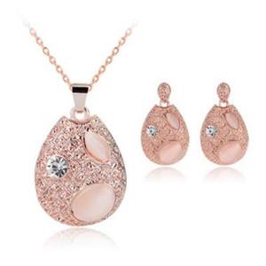Новый кристалл опал капли воды ожерелье серьги ювелирные наборы для женщин Девушки мода ювелирные изделия подарок MOQ 20 комплектов
