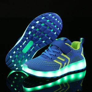 دافئ مثل المنزل الجديد 25-37 شاحن USB متوهجة أحذية رياضية بقيادة الأطفال إضاءة أحذية الفتيان / الفتيات مضيئة رياضة حذاء