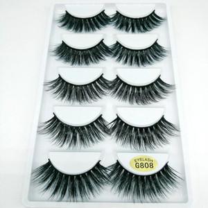 Mink 3D Cils réutilisables Vente chaude Véritable maquillage sibérien Faux de faux cils de longs cils de mink à vison extension 5 paires set