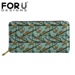 FORUDESIGNS Frauen Lange Geldbörsen Geldbörsen Weibliche Funktion Geld Handtaschen Damen Cartoon Niedlich Floral Sloth Muster Brieftaschen