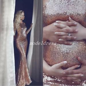 2018 Rose Gold Maternity vestidos de noche embarazadas Halter Backless Sweep Train largo Formal Prom Vestidos del partido Vestidos De Fiesta Abendkleider