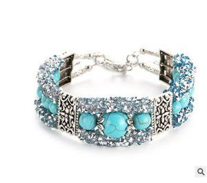 Jiasha Türkis Perlen Bead Armband Strass retro Mode Frauen Schmuck Großhandel