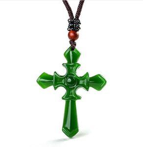 Certificado 100% Natural Hetian / Afghan Jade Esculpido Pingente Cruz Colar Charme Jóias / Amuleto De Jóias Sorte