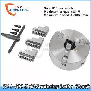 Самоцентрирующийся токарный патрон 4200 об / мин 4 дюйма 3 челюсти 100 мм K11-100 с гаечным ключом и винтами закаленная сталь для сверления фрезерный станок