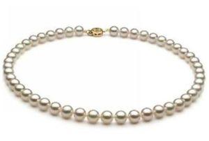 Charming natürliche 8-9mm weiß Akoya Perlenkette 18Zoll 14K Gold Verschluss